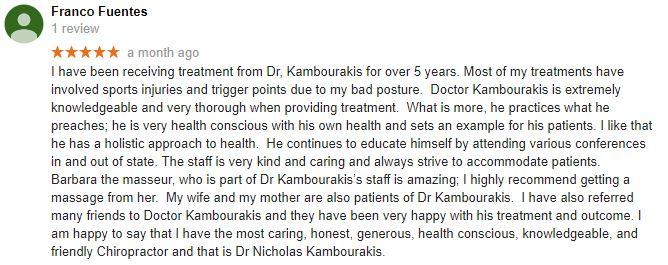 Kambourakis Chiropractic: Nicholas Kambourakis Patient Testimonial